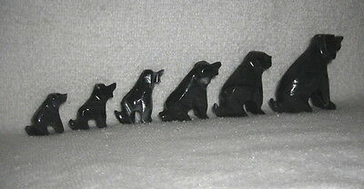 Vtg-Mini Gray Black Carved Granite Stone Howling Coyote Dogs~6 Graduated Sizes
