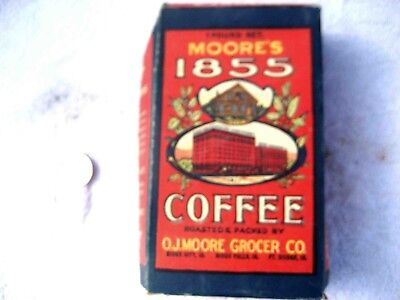 "Old 1 lb. box ""MOORE'S 1855 COFFEE""  Sioux City,  Sioux Falls, Ft. Dodge. Iowa"