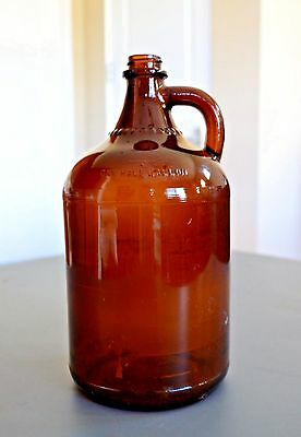 Vintage Ball Amber Brown Glass Jug One Half Gallon Bottle