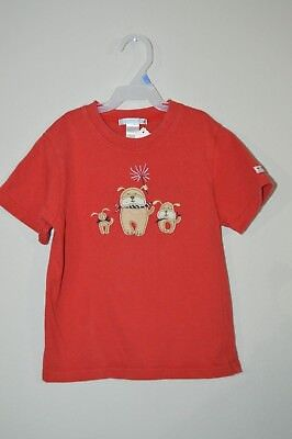 Janie & Jack Boys Size 5T Red Short Sleeve 4Th Of July T-Shirt Puppies