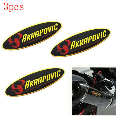 3PCS Motorcycle Exhaust Pipe Sticker AKRAPOVIC Heat-resistant Refitting Supplie