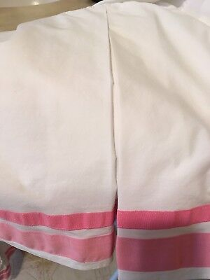 Pottery Barn Kids Crib Dust Ruffle Girls PINK Stripe Crib Skirt Harper