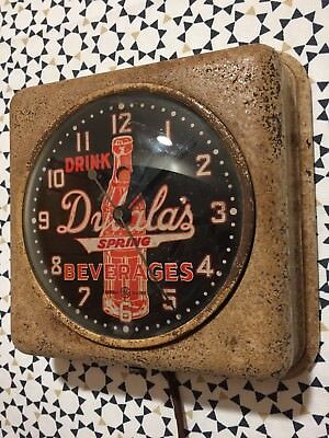 Vintage General Electric Dybala's Spring Beverages Soda Clock Advertising Sign