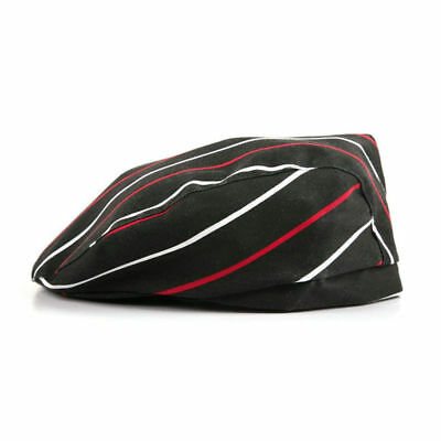 Chef Hat Black with red and white stripes Beret cabbie style  design