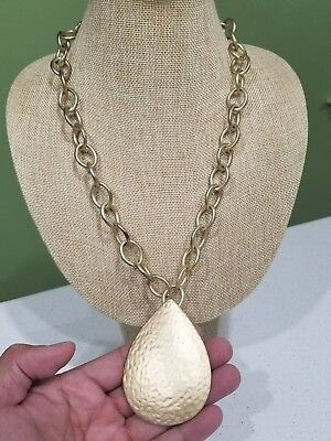 MASSIVE Kenneth Jay Lane HAMMERED Gold Tone Chain Necklace w/ Tear Drop Pendant