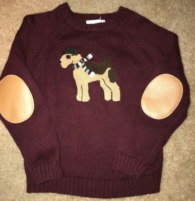 Janie And Jack sweater size 5t Airedale dog Elbow patches