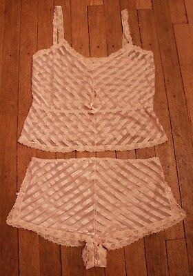 Vintage Pink 20s Silk Nightgown Slip with Shorts 3D Rosettes French Lace Netting