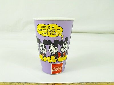 1990 Disneyland Hotel Mickey Mouse Paper Cup Coca Cola Solo Cup New Exc. Cond.