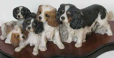 King Charles Cavalier Spaniels Family and Pups Porcelain STEVE McKEOWN Sculpture
