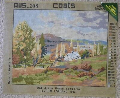 COATS TAPESTRY CANVAS ONLY - OLD ACTON HOUSE CANBERRA - 50 x 40 cm's NO WOOL