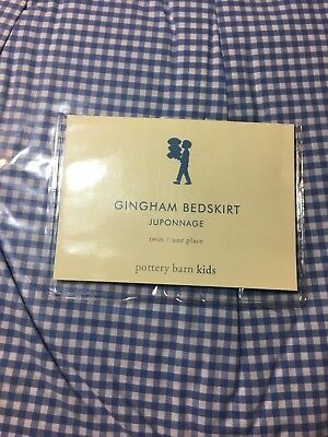 NWT, Pottery Barn Kids Twin Gingham Bed Skirt-light Blue