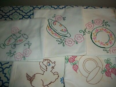 Lot of 5 Vintage 1950's Small Cotton Tableclothes Needlepoint/stamped