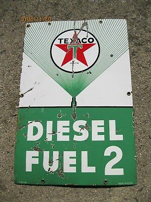 Texaco Diesel Fuel 2 gas Porcelain Sign 1954