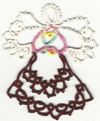 Tatting Tatted Angel gold and maroon size 20 thread