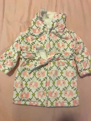Girls Elephant Bath Robe Super Soft 6-12 Months