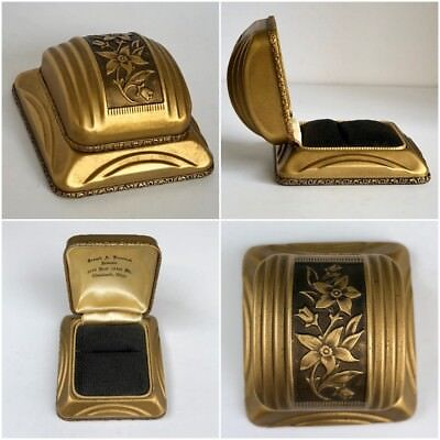 Antique Vintage Art Deco Ring Presentation Box Metal Gold & Black Floral
