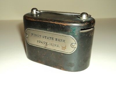 VINTAGE First State Bank of STACY, MINNESOTA: Metal PIGGY BANK by W.F. Burns Co.