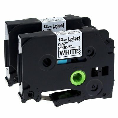 2x Black on White Label Tape TZ231 TZe231 12mm 8M Compatible for Brother P-Touch