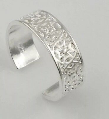 925 Sterling Silver Plated Resizable Toe Ring Pinkie Women's Jewellery Ladies