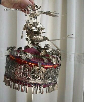 Vintage  Exotic Chinese Handmade Miao Silver embroidery Hat