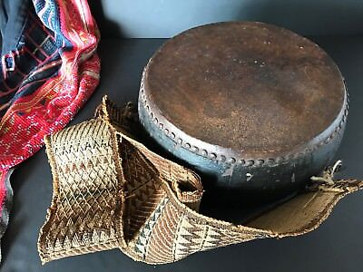 Old Mongolian Temple Drum with Woven Strap  …beautiful collection / display...