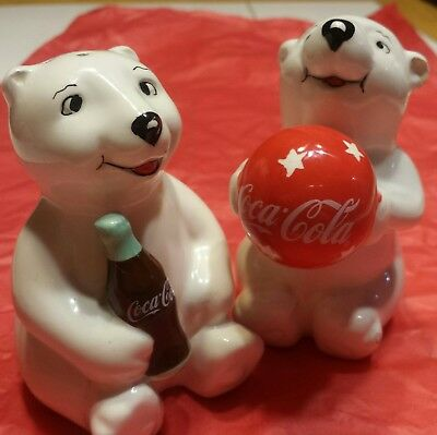 Coca Cola Vintage Polar Bear Salt and Pepper Shakers/ used/ very good shape