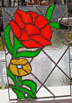 "Stained Glass Window Panel Leaded Glass 11-3/4 x 8-1/8"" Hand Crafted Flowers"