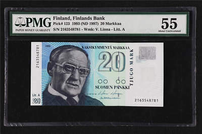 1993 Finland Finlands Bank 20 Markkaa Pick#123 PMG 55 About UNC