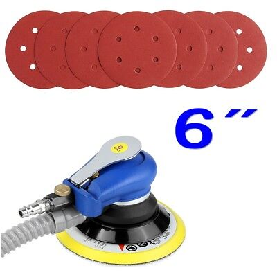 "6"" Air Random Orbital Orbit Palm Sander w/ 7 Sandpapers 150mm Dual Action Vacuum"