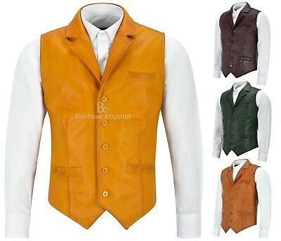 Andy Men's Real Leather Waistcoat Party Fashion Lightweight Classic Style 1349