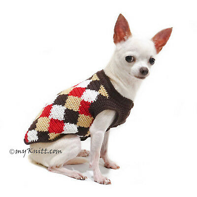 a38a18e7b3c8 Plaid Dog Clothes Handmade Crochet Pet Clothing Chihuahua Yorkie K773  Myknitt