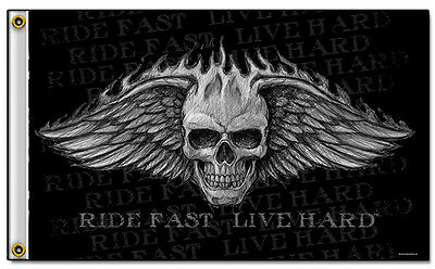 Biker Fahne Angelwings Skull Flügel Ride Fast Live Hard Rocker Club DW0604