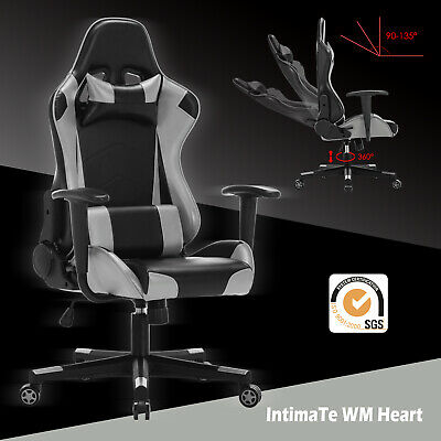 Executive Racing Gaming Computer Office Chair Recliner Adjustable Swivel Leather