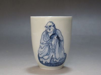 Chinese Blue and white porcelain Tea cup Hand painted Lohan Buddha cup Have mark