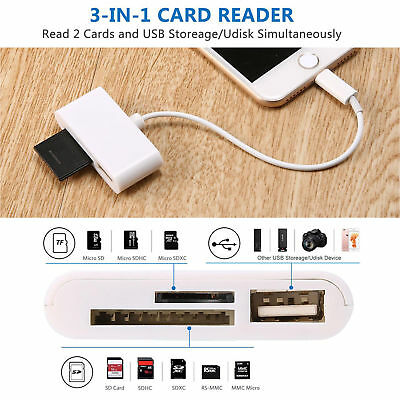 Lightning to SD Card Camera Reader Connector Micro USB Adapter for iPhone iPad