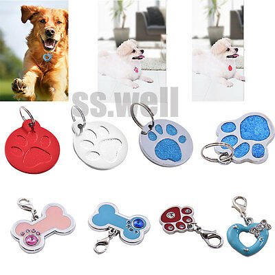 Personalised Engraved Glitter Paw Print Tag Dog Cat Pet ID Tags Reflective Hot