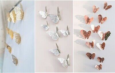 12pcs Metallic Gold Silver 3D Butterflies Wall Stickers Home Decor