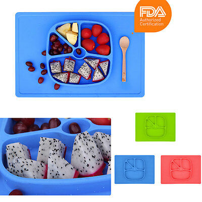 Silicone One-piece Feeding Bowl Suction Plates Child Divided Dish Placemat
