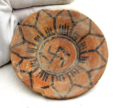 Indus Valley Terracotta Bowl W/ Swastika Motif - Rare Ancient Artifact - L836