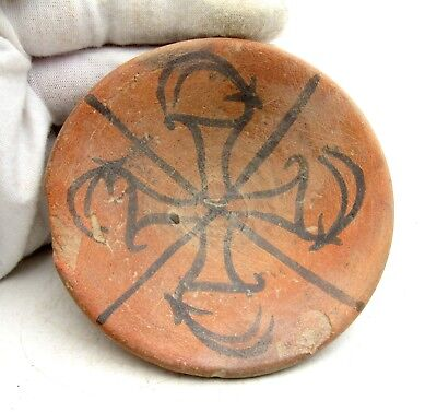 Indus Valley Terracotta Bowl W/ Swastika / Deer Motif - Ancient Artifact - L837