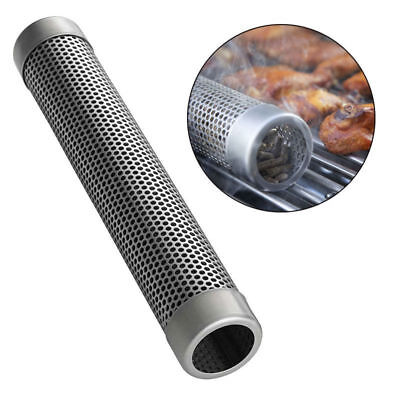 BBQ Stainless Steel Perforated Mesh Smoker Tube Barbecue Grill Smoke Filter Tool
