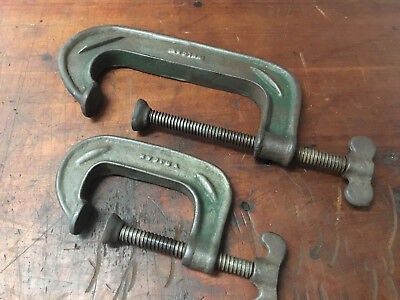 """Vintage Vulcan 6"""" & 3"""" G Clamps Made in Australia ? Old Woodwork Tools"""