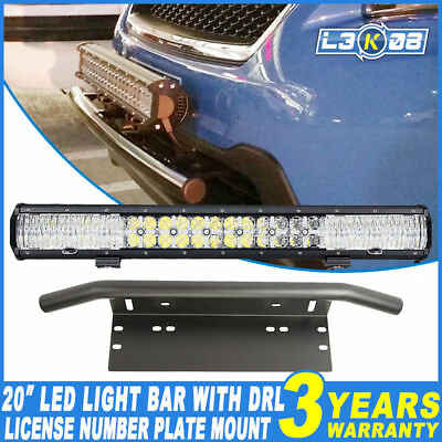 "23inch 576W LED Work Light Bar DRL + 23"" Number Plate Frame Mount Bracket 4X4WD"