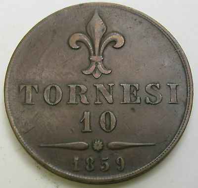 NAPLES & SICILY Dieci (10) Tornesi 1859 - Copper - Francesco II. - VF - 3300