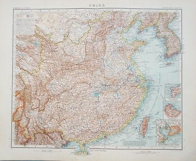 Map of China 1909. Original. Stieler. Perthes. HONG KONG. KOREA. TAIWAN Antique