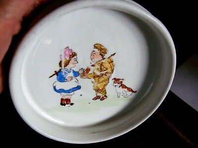 Antique Nippon Baby Bowl  Children One Playing Soldier Heavy Porcelain Rare