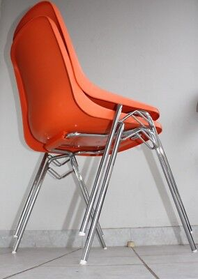 MAUSER Stapel Stuhl Stahlrohr 70er Bauhaus Space Age Side Chair Chrom Industrie