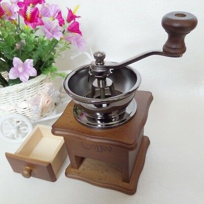 Wooden Antique Mini Coffee Hand Grinder Manual Crank Ground Beans Spice Herb Nut
