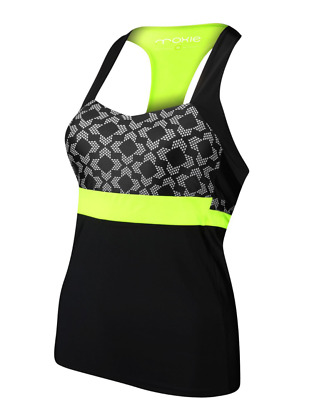 MOXIE Cycling High Visibility Brilliant Blue Peplum Jersey Tank Top
