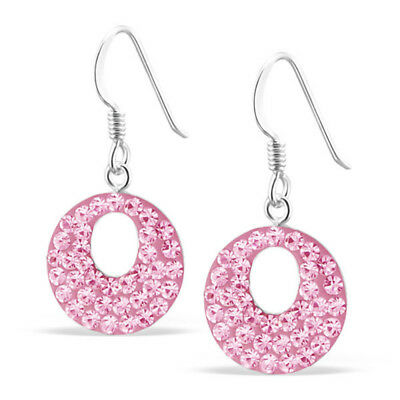 Pink 925 Sterling Silver sparkly round drop hook earrings UK quality jewellery
